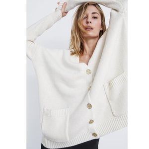 Zara Oversized Knit Cardigan with gold buttons